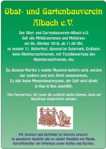 11. Kelterfest des Obst-und Gartenbauvereins Albach