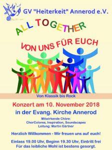 Chorgruppen der Heiterkeit Annerod veranstalten Kirchenkonzert