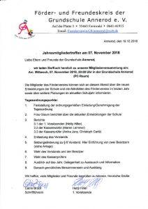 JHV Förder- und Freundeskreis der Grundschule Annerod e.V.