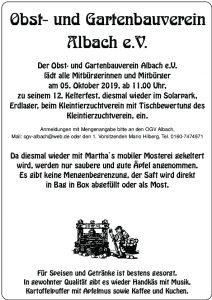 12. Kelterfest des Obst- und Gartenbauvereins Albach