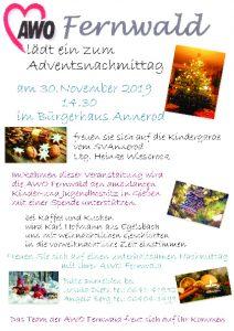 AWO Ortsverein Fernwald - Einladung zum Adventsnachmittag 2019